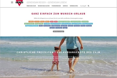 CVJM-Reisen Website im neuen Design